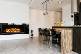 built in fireplace in kitchen
