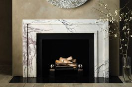 contemporary wood burning fireplace
