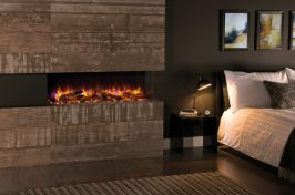 tunnel fireplace with log fuel effect