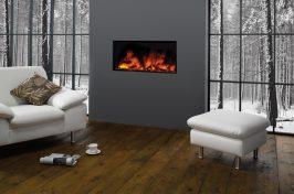 built in fireplace in studio