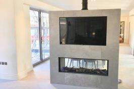 tunnel fireplace in living room